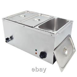 1/3 Pan Bain Marie Electric Stainless Steel Wet Well Sauce Food Warmer 1500W
