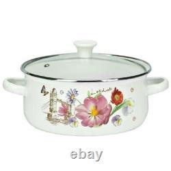 10 Pc Enamel Cookware Set Casserole Pots Lid Soup Stockpot Flowers White Pan Red