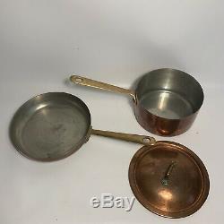 10 Piece Vintage Fantuzzi Copper Cookware Set Pots Pans Brass Handle