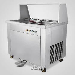 1060w Double Pan Fried Ice Cream Machine with 5 Buckets Ice Cream Roller Maker