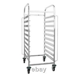 10Level Pan Rack Bakery Food Tray Racking Trolley Stainless Steel Commercial Use