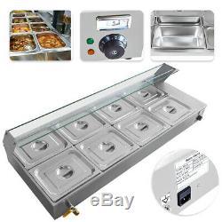 110V 8-Pan Catering Food Warmer Steam Table Bain Marie Buffet Restaurant 1700 W