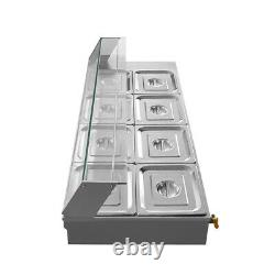 110V 8-Pan Commercial Bain-Marie Buffet Food Warmer Steam Table Rubber Foot
