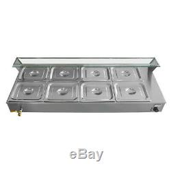 110V Commercial 8-Pan Bain Marie Restaurant Food Warmer Top Buffet Steam Table