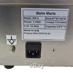 110V Restaurant Food Warmer 3-Pan Bain Marie Steam Table Steamer Stainless Steel