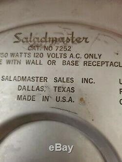 12 1/4 Saladmaster Oil Core Waterless Electric Skillet Frying Pan # K7252 EUC