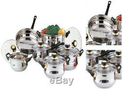 12pc Stainless Steel Cookware Saucepan Pan Frypan Casserole Pot Glass LID Set