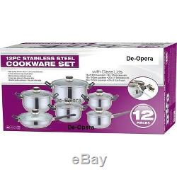 12pc Stainless Steel Cookware Saucepan Pan Pot Set Bn