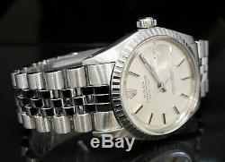 1975 ROLEX 36mm Datejust 1603 Stainless Steel, Silver Baton, Pie Pan Dial