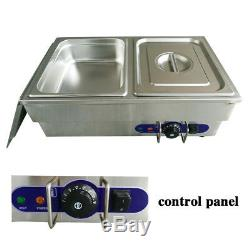 2 1/2 Pans Bain Marie Electric Stainless Steel Wet Well Sauce Food Warmer