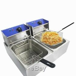 2 x 10L Electric Deep Fat Fryer Healthy Food Frying Chip Pan Basket Steel Tanks