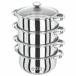 22cm 4 Tier Stainless Steel Multi Steamer Veg Cooker Pot Pan Set With Glass LID