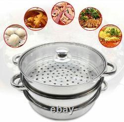 24cm 3 Tier Stainless Steel Steamer Cooker Pot Set Pan Cook Food Glass Lids UK