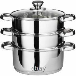 24cm Multi Steamer 3 Tier Stainless Steel Veg Cooker Pot Pan Set + Glass LID