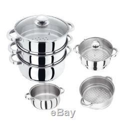 24cm S/s Steel Induction Hob 3tier Steamer Multi Veg Cooker Pot Pan Set With LID