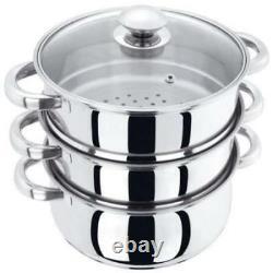 26cm Multi Steamer 3 Tier Stainless Steel Veg Cooker Pot Pan Set And Glass LID