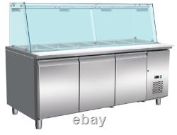 3 Door 1.8M Salad Display with Glass Display Fridge Stainless Steel 5 x 1/1 Pan