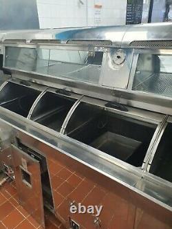 3 Pan Stainless Steel Digital Preston & Thomas Frying Range. Fish & Chip Shop