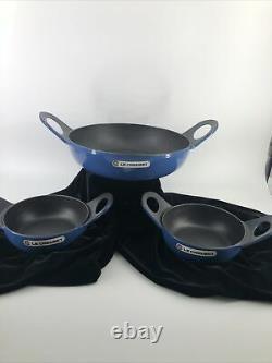 3 Pcs Vintage Le Creuset Blue Karahi Wok Dish Pan Vessel Serving Set