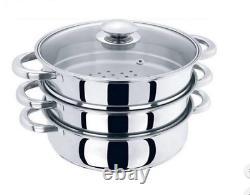 3 Tier 25cm Stainless Steel Steamer Cooker Pot Set Pan Cook Food Glass Lids