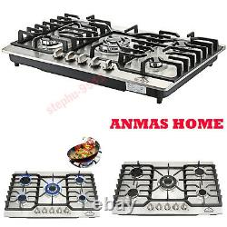 30 5 Burners Stainless Steel Gas Hob With Cast Iron Pan Stands And Wok Burner