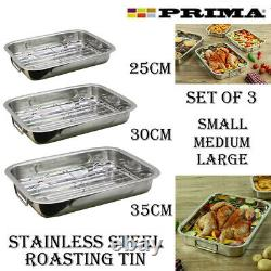 3pc Stainless Steel Roasting Oven Pan Dish Baking Roaster Tin Grill Rack Tray