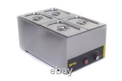 4 Pan Pot Wet Heat Bain Marie Food Warmer Holder 4x 1/4 Pans & Lids Inc