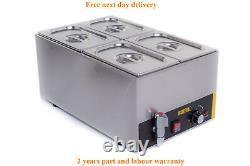 4 Pan Pot Wet Heat Bain Marie With Taps Food Warmer Holder 4x1/4 Pans & Lids Inc