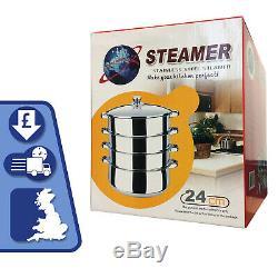 4 Tier Steamer 24cm S/Steel Veg Cooker Induction Hob Multi Pot Pan withGlass Lid