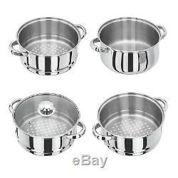 4Tier Induction Hob S/S Steel 24cm Steamer Multi Veg Cooker Pot Pan W Glass Lid