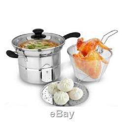 4pc 22cm Stainless Steel Deep Fryer Set & Chip Pan Pot + LID & Basket Chn