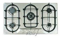 5 Burner Built-in Gas Hob 90cm Stainless Steel Cast Iron Pan Stand LPG NJ-904S