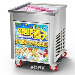 50cm Square Fry Pan Electric Thai Fried Yogurt Ice Cream Roll Machine Maker 220V