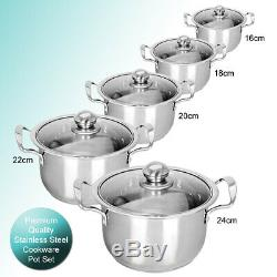5PC Stainless Steel Casserole Stockpot Pans Set With Glass Lids Kitchen Cookware