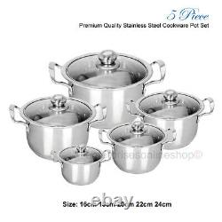 5PC Stainless Steel Cookware Casserole Stockpot Pans Set With Glass Lids Kitchen