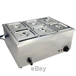 6 1/6 Pans Bain Marie Electric Stainless Steel Wet Well Sauce Food Warmer UK