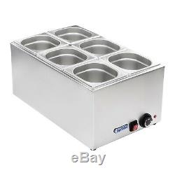 6 Pan Bain Marie Wet Well Food Warmer Stainless Steel Pot 1/6 Gn Container 1200W