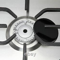 76cm 5 Burner Gas Hob In Stainless Steel With Steel Pan Stands, NG/LPG Conversion
