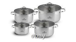 8 Piece Stock Pot Set Saucepan Stew Casserole Pots Stockpot Pans Gerlach 18/10
