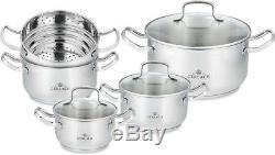 9 Piece Stock Pot Set Saucepan Stew Casserole Pots Stockpot Pans Gerlach 18/10