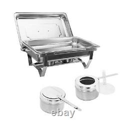 9L/8Q 4 Pack Chafer Chafing Dish Sets Pans Stainless Food Warmer Steel Catering