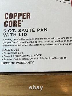 ALL-CLAD COPPER-CORE 5 QT -Quart SAUTE PAN WITH LID AND LOOP HANDLE NEW