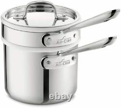 All-Clad 4202 Tri-Ply Stainless 2-qt Sauce Pan with Ceramic Double Boiler with Lid