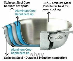 All-Clad BD55204 D5 Brushed Stainless Steel Sauce Pan, 4-Quart New in Box