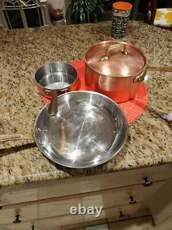 All Clad Copper CopRChef Four-Piece Set Skillet, Medium/Small Sauce Pans, Lid