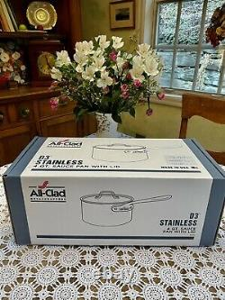 All-Clad D3 3-Ply Stainless 4 QT. Sauce Pan withlid- New In Box (Out Of Stock!)