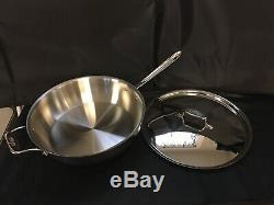 All-Clad D5 Polished Stainless Steel 5ply 6 QT Essentials Pan WithLid SD551213