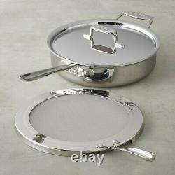 All-Clad d5 Polished 5-ply Stainless-Steel 4-Qt Sauté Pan with Splatter Screen
