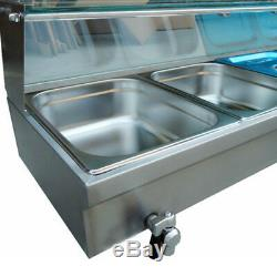 Bain Marie 5 Gastronorm Pans Stainless Steel Pot Wet Well Hot Food Display