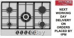 Baumatic BHG720SS 70cm 5 Burner Stainless Steel Cast Iron Pan Support Gas Hob